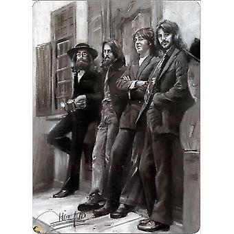 The Beatles Leaning Metal Wall Sign 305Mm X 205Mm