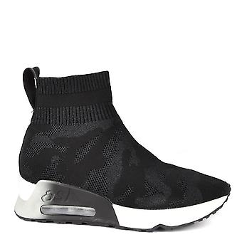 Ash Footwear Lulu Camo Knit Black Trainer