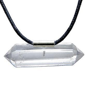 Brazilian Double Terminated Charm Crystal Point Rock Quartz Gemstone Amulet Pendant Necklace