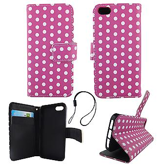 Mobile phone case pouch for phone Apple iPhone 5 / 5 s / SE purple white polka dot