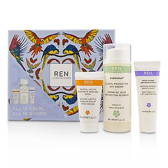 Ren All Is Calm All Is Bright Set: Mask 15ml + Firming Serum 10ml + Day Cream 50ml - 3pcs