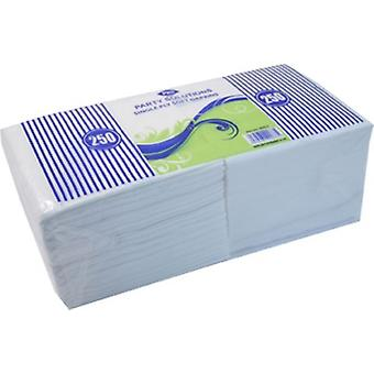Pack of 250 Single Ply Soft Paper Napkins White Disposable Tissue