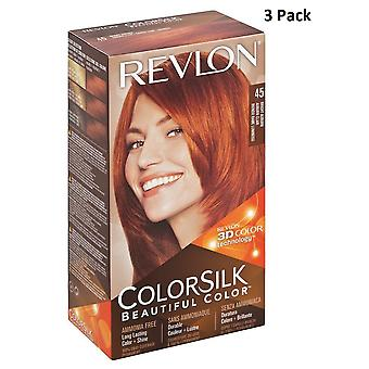 3 X Revlon Colorsilk Ammonia Free Permanent Hair Colour (45 Bright Auburn)