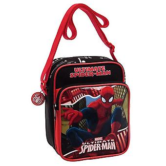 Spiderman rode schouder tas stad