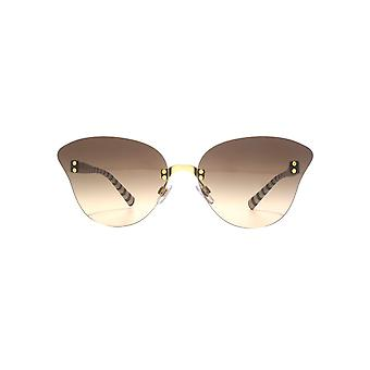 Giorgio Armani Rimless Butterfly Sunglasses In Matte Gold Brown