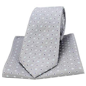 David Van Hagen małych kwadratów krawat i placu kieszeni zestaw - szary/Multi-colour
