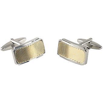 David Van Hagen Striped Centre Curved Rectangle Cufflinks - Silver/Gold