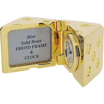 Gift Time Products Dice and Photo Frame Miniature Clock - Gold