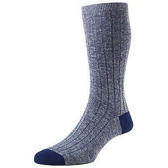 Pantherella Hamada Contrast Heel and Toe Linen Blend Socks - Indigo Blue
