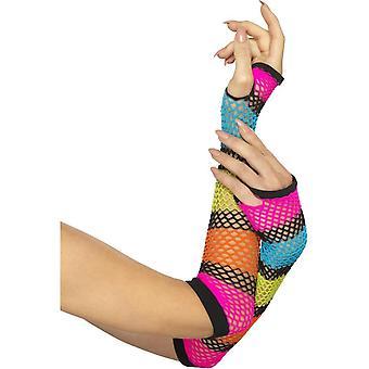 Smiffy's Fishnet handsker, lange, Neon, med sort stribe