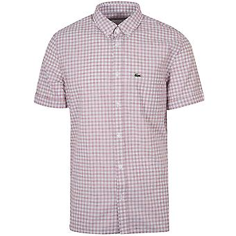 Lacoste Lacoste Regular Fitting Short-Sleeved Red Check Shirt