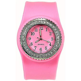 SS Slap On CZ Pink Dial Ladies Watch SW050
