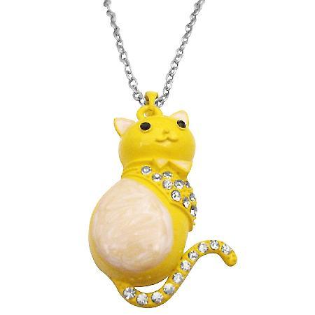 Fat Cat Pendant Cute Sweet Pendant Yellow White Cat Pendant Necklace
