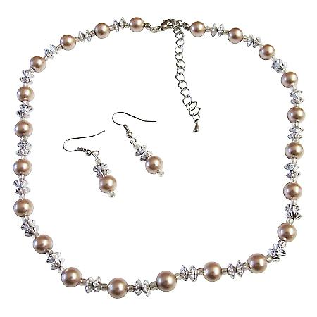 Cheap Affordable Prom Jewelry Champagne Pearls AB Chinese Crystals Set