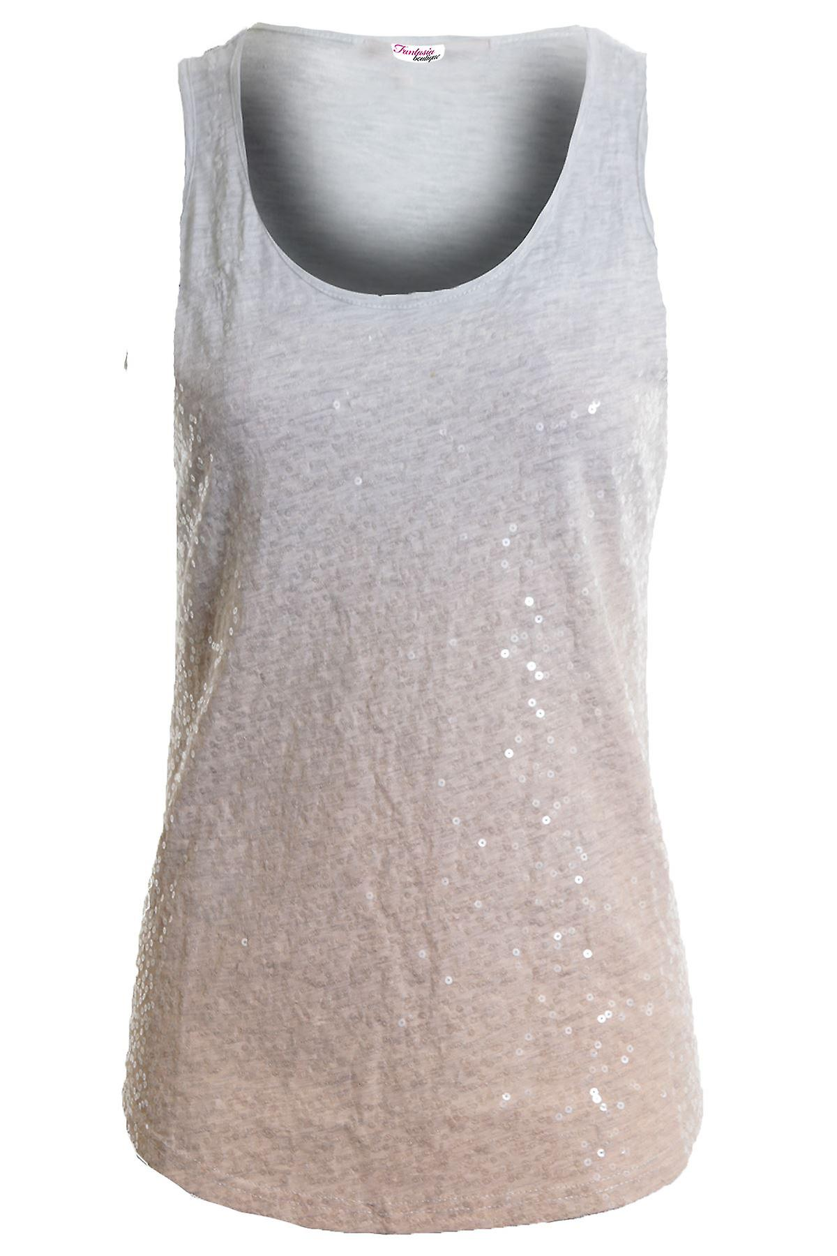 Ladies Sleeveless Faded Tie-Dye Sequin Top Fitted Women's Vest