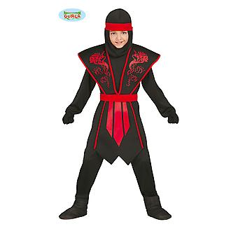 Elegant Ninja costume child red black with nice armor for young Carnival