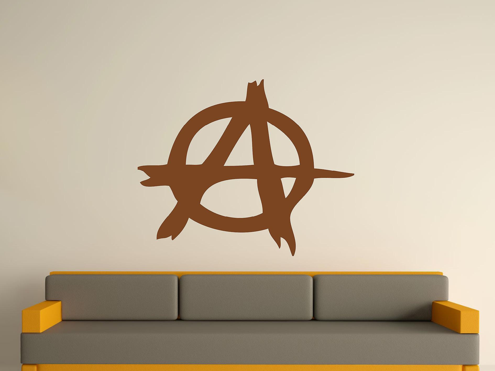 Anarchy Symbol Wall Art Sticker - Brown