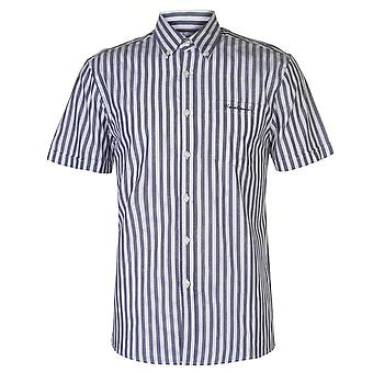 Pierre Cardin Mens Washed Stripe Short Sleeve Shirt Casual Tops