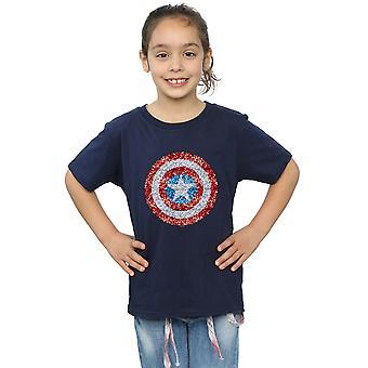 آعجوبة الفتيات نقيب أمريكا درع منقطة تي شيرت