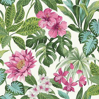Tropica Rainforest Palm Leaf Floral Wallpaper Flower Green Pink White Fine Decor