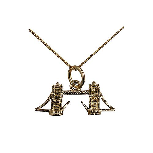 9ct Gold 9x20mm Tower Bridge Pendant with a curb Chain 16 inches Only Suitable for Children