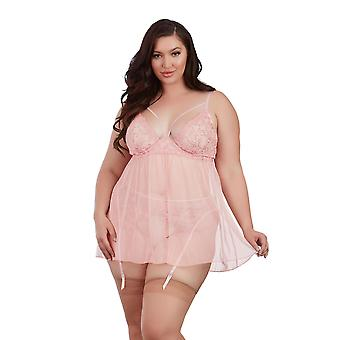 Womens Plus Size Embroidered Underwire Gartered Babydoll Lingerie Set