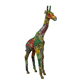 Colorful Vintage Indian Sari Fabric Wrapped Giraffe Sculpture 37 Inch