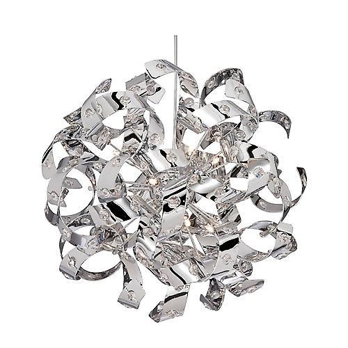 Searchlight 5816-6CC Curls 6 Light Chrome Finish Pendant Glass Beads