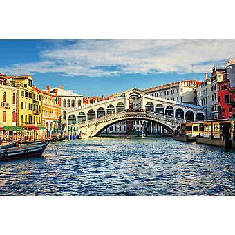 Papier peint fresque grand canal et pont du Rialto
