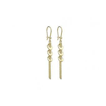 Eternity 9ct Gold 3 Circles And Chain Drop Earrings