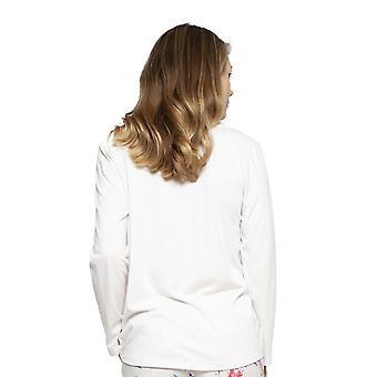 Cyberjammies 4210 Women's Evie Ivory Off-White Hummingbird Print Cotton Pyjama Top