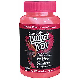 Natures Plus POWER TEEN For Her Chewable Multi - Wild Berry, 60 chewable tabs