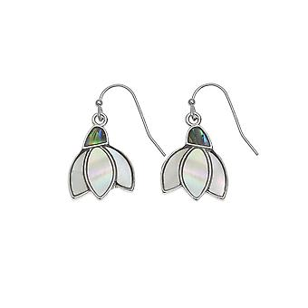 Eternal Collection Mother Of Pearl Snowdrop And Paua Shell Silver Tone Drop Pierced Earrings