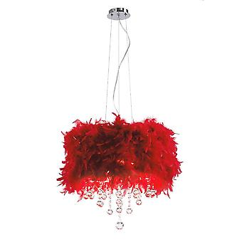 Diyas Ibis Pendant With Red Feather Shade 3 Light Polished Chrome/Crystal