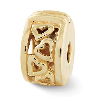 925 Sterling Argent Poli Gold-Flashed Reflections Hinged Hearts Clip Bead Charm