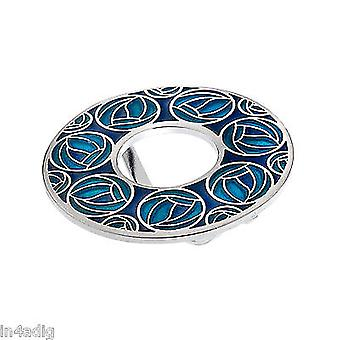 Mackintosh Roses and Annulus Enamel Scarf Ring Gift Boxed - Turquoise
