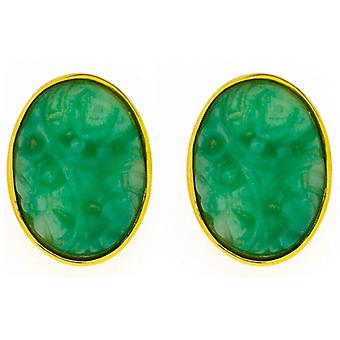 Kenneth Jay Lane Clip Oval oro y Jade en pendientes