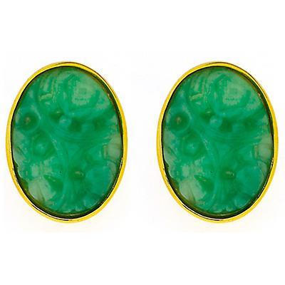Kenneth Jay Lane Gold & Jade Oval Clip On Earrings