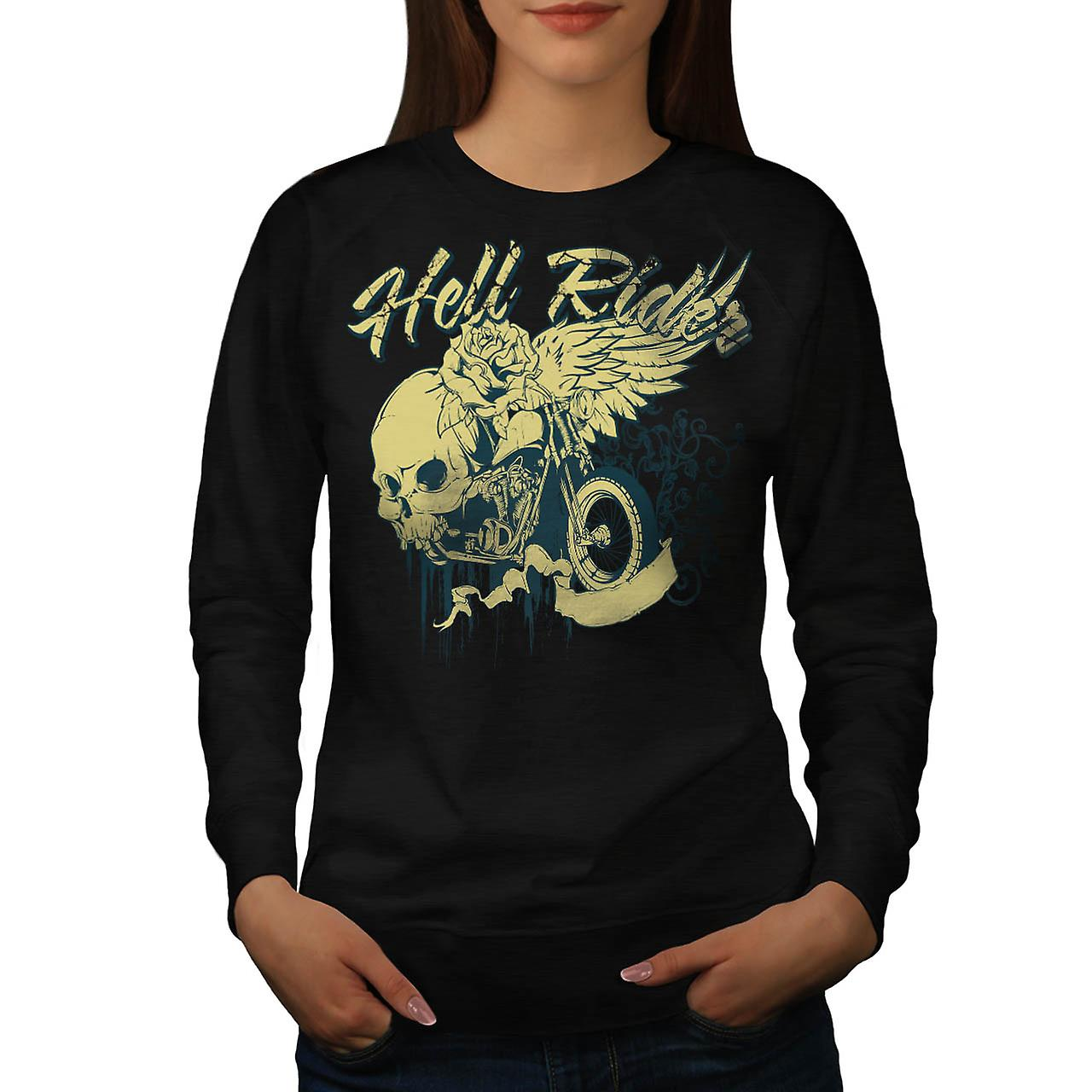 Hell Rider Biker Life Rose Skull Women Black Sweatshirt | Wellcoda