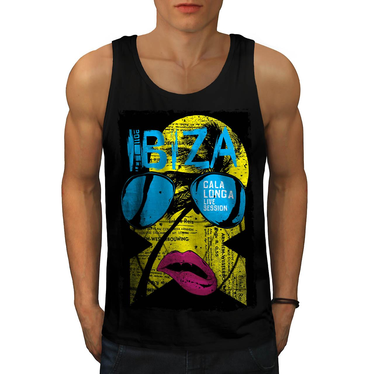Ibiza Summer Funk Lip Live Music Men Black Tank Top | Wellcoda