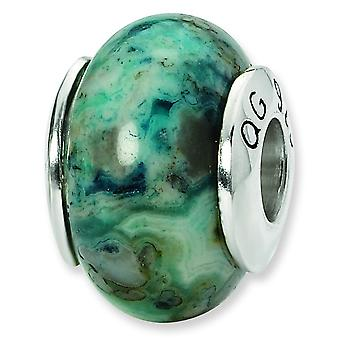 Sterling Silver Polished Antique finish Reflections Blue Crazy Lace Agate Stone Bead Charm