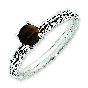 2.5mm Sterling Silver Stackable Expressions Tigers Eye Antiqued Ring - Ring Size: 5 to 10