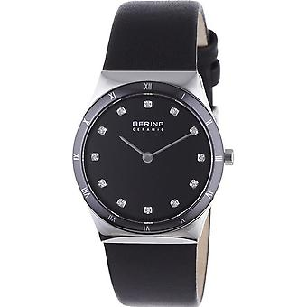 Bering ladies slim ceramic - 32230-448 leather wristwatch watch