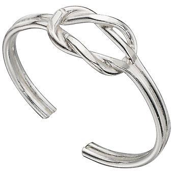 Anel de dedo do pé ajustável Zirconia prata 925