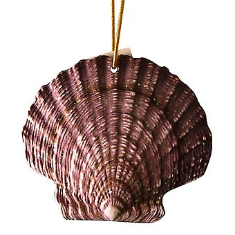 Tropical Beach Seashell Christmas Ornament lilla og brune ORNShell14 harpiks