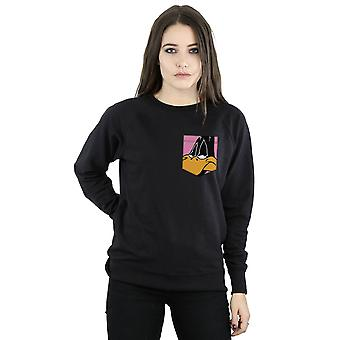 Looney Tunes Women's Daffy Duck Face Faux Pocket Sweatshirt