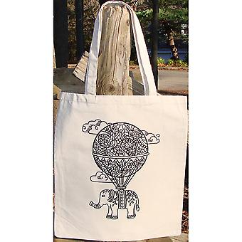 Stamped Canvas Tote To Color-Balloon 98108T