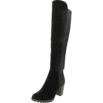 Koi Couture Black Suede Stretchy High Heel Angular Tall Over Knee Boots