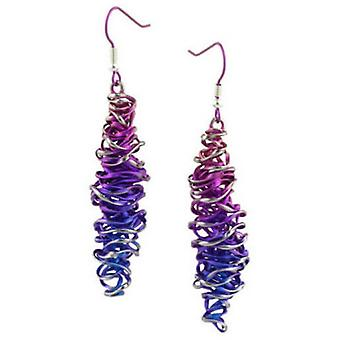 Ti2 Titanium Twisted Chaos Drop Earrings - Pink