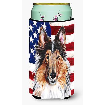 Collie com bandeira americana EUA grandalhão bebidas isolador Hugger